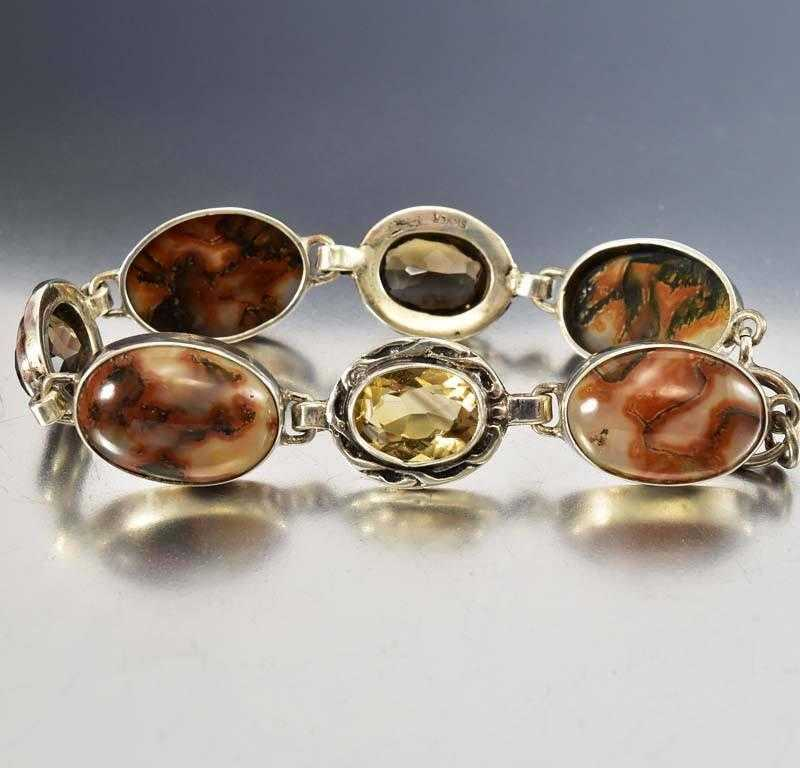 Antique Silver Topaz Scottish Moss Agate Bracelet - Boylerpf
