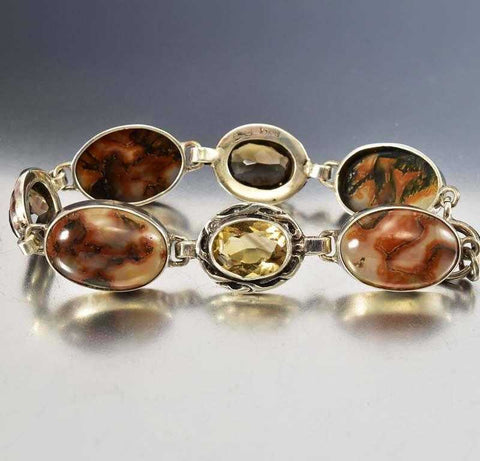 Antique Silver Topaz Scottish Moss Agate Bracelet