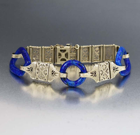 Art Deco Reverse Painted Intaglio Essex Glass Bracelet