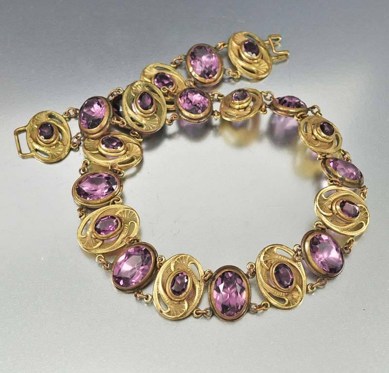 Antique Art Nouveau Amethyst Dog Collar Necklace - Boylerpf