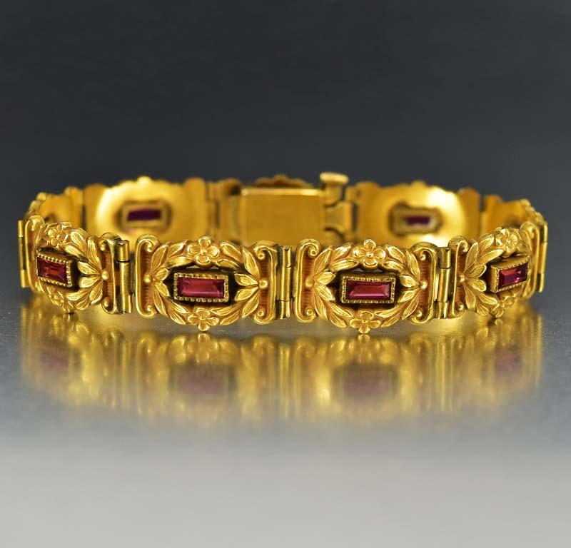 Art Nouveau Gold Flower and Ruby Paste Bracelet - Boylerpf