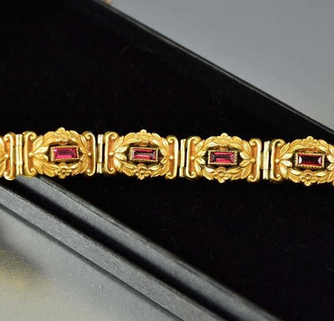 Art Nouveau Gold Flower and Ruby Paste Bracelet