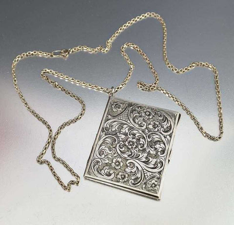 Chatelaine Forget Me Not Engraved Locket Antique Necklace