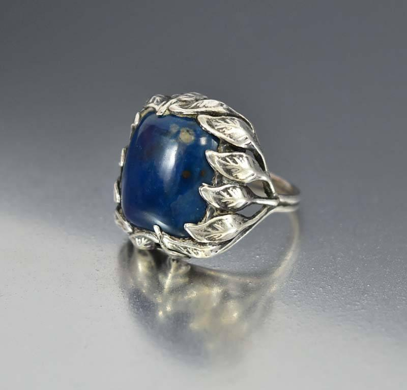 Vintage Arts & Crafts Sterling Silver Lapis Ring 1920s - Boylerpf