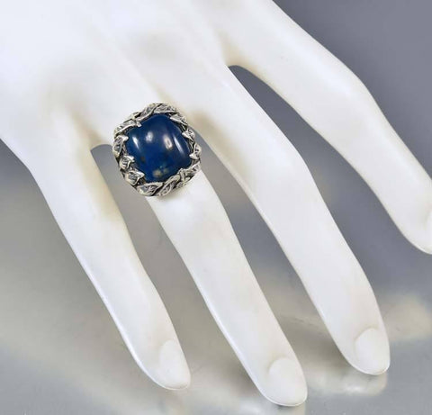 Vintage Arts & Crafts Sterling Silver Lapis Ring 1920s