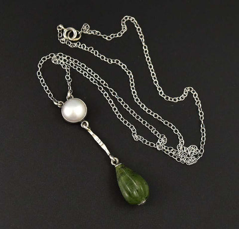 Arts & Crafts Silver Pearl and Jade Pendant Necklace