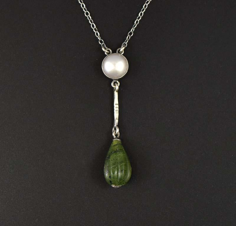 Arts & Crafts Silver Pearl and Jade Pendant Necklace - Boylerpf