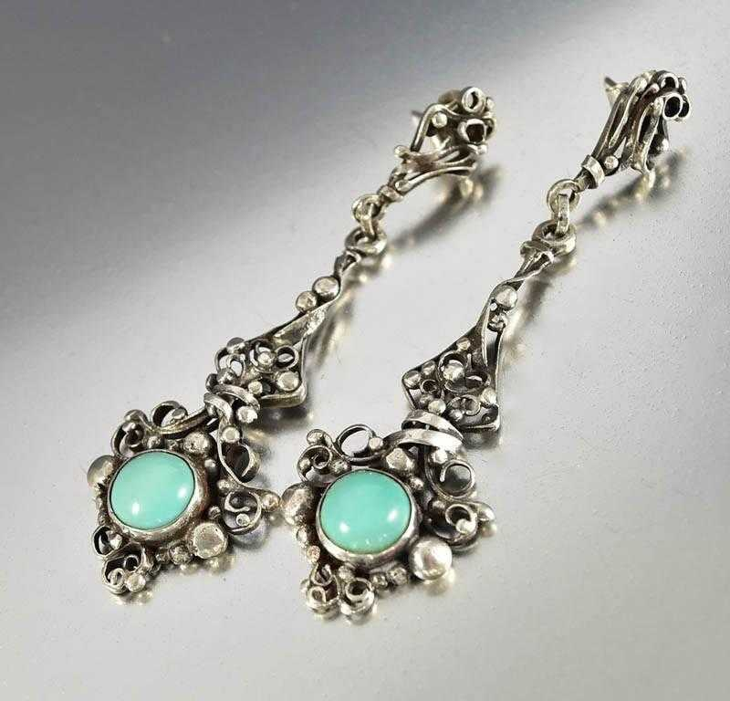 Arts & Crafts Sterling Silver Turquoise Earrings - Boylerpf - 1