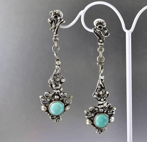 Arts & Crafts Sterling Silver Turquoise Earrings