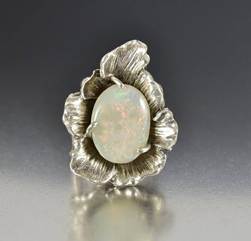 Vintage Arts & Crafts Sterling Silver Flower Opal Ring - Boylerpf