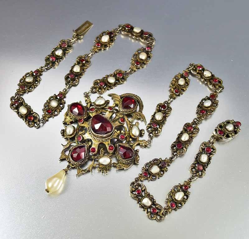 Antique Austro Hungarian Pearl Garnet Necklace - Boylerpf - 1
