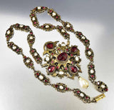 Antique Austro Hungarian Pearl Garnet Necklace - Boylerpf - 4