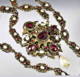 Antique Austro Hungarian Pearl Garnet Necklace - Boylerpf - 2