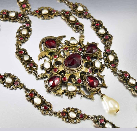 Antique Austro Hungarian Pearl Garnet Necklace