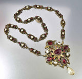 Antique Austro Hungarian Pearl Garnet Necklace - Boylerpf - 6