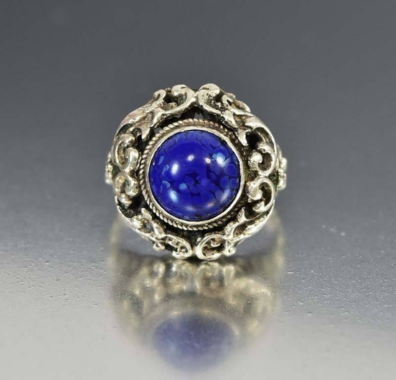 Austro Hungarian Silver Lapis Dome Ring, Antique C. 1880s - Boylerpf
