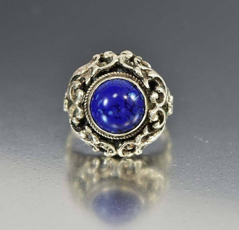 Austro Hungarian Silver Lapis Dome Ring, Antique C. 1880s