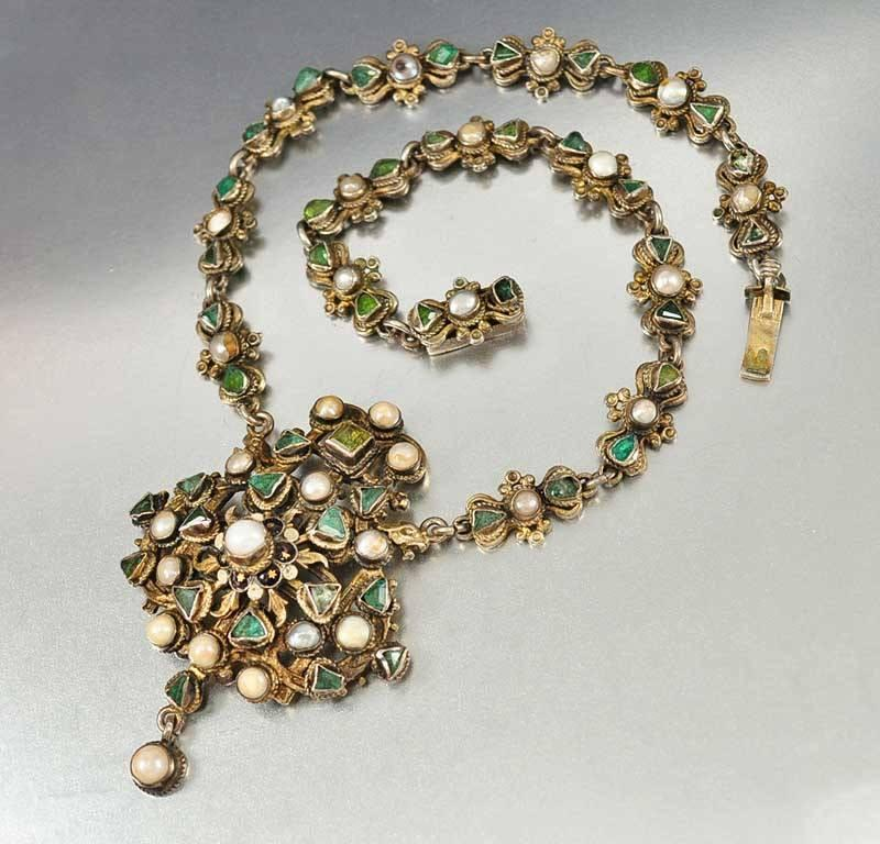Antique Austro Hungarian Pearl Emerald Necklace - Boylerpf