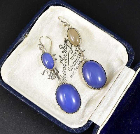 Engraved Silver Arts & Crafts Blue Chalcedony Earrings