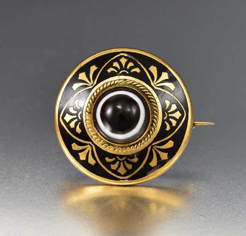 Wonderful Scottish Banded Agate Enamel Gold Brooch - Boylerpf