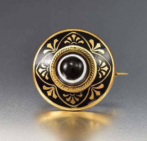 Wonderful Scottish Banded Agate Enamel Gold Brooch