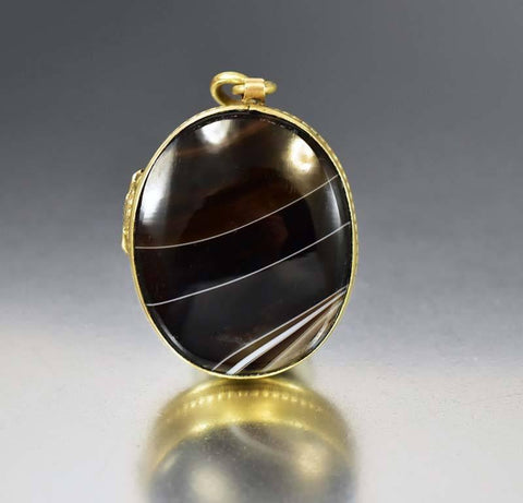 Antique Banded Agate Victorian Locket Pendant