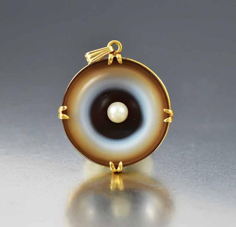Antique 14K Gold Pearl Banded Agate Pendant