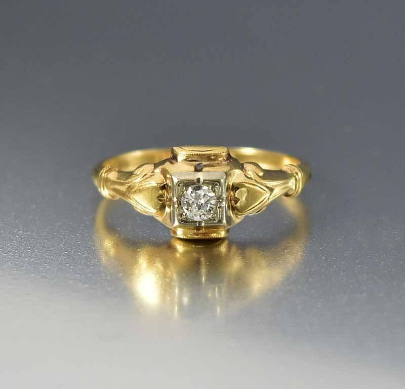 Gold Diamond Belais Art Deco Engagement Ring - Boylerpf - 1
