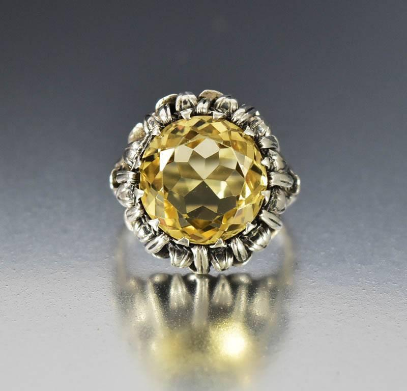 Arts & Crafts Bernard Instone Silver Citrine Ring - Boylerpf - 1