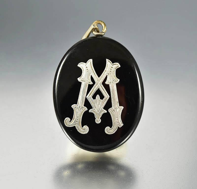 Antique Black Enamel Silver Initial Mourning Locket - Boylerpf - 1