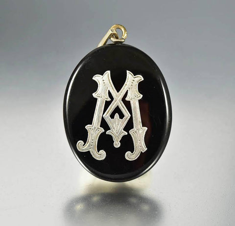 Antique Black Enamel Silver Initial Mourning Locket
