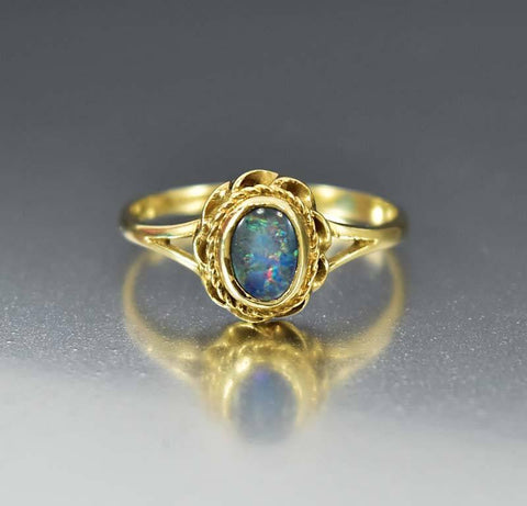 Gold Ruby Paste Opal Antique Victorian Engagement Ring