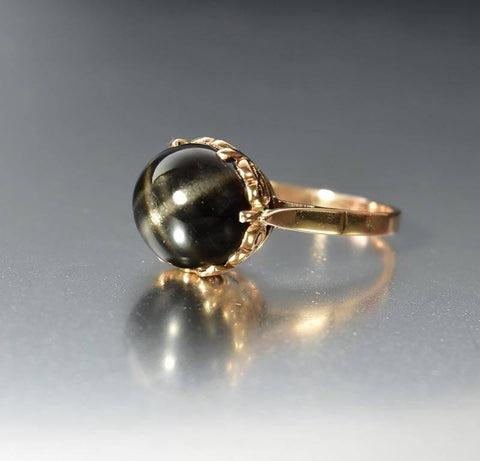 Vintage 14K Rose Gold Black Star Diopside Ring