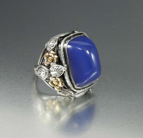 Arts and Crafts Silver Sugarloaf Blue Chalcedony Ring