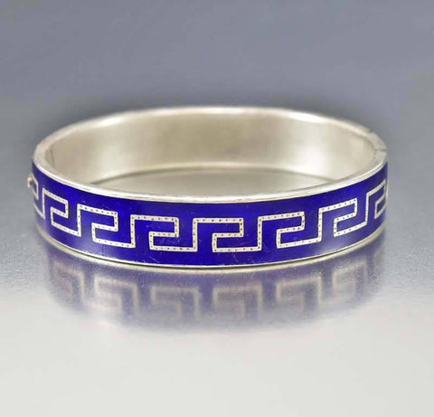 Antique Victorian Sterling Enamel Bracelet Greek Key
