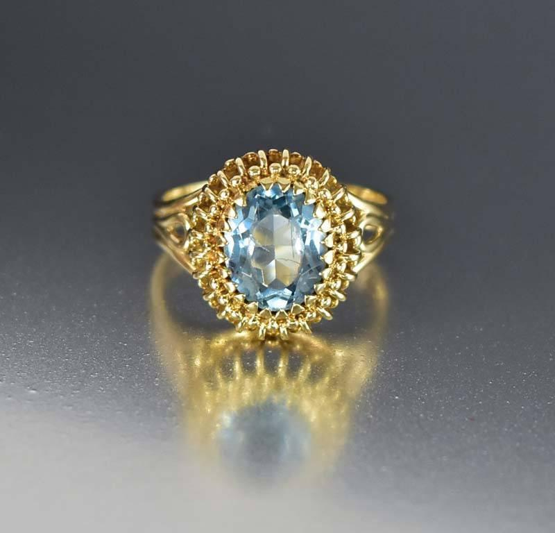Vintage Mid-Century Gold Blue Topaz Cocktail Ring - Boylerpf
