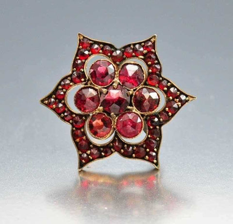 Antique Victorian Bohemian Garnet Brooch Pin