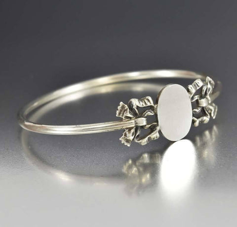 Edwardian Sterling Silver Bow Bangle Bracelet Engravable