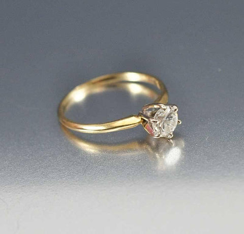 14K Solid Gold CZ Solitaire Engagement Ring