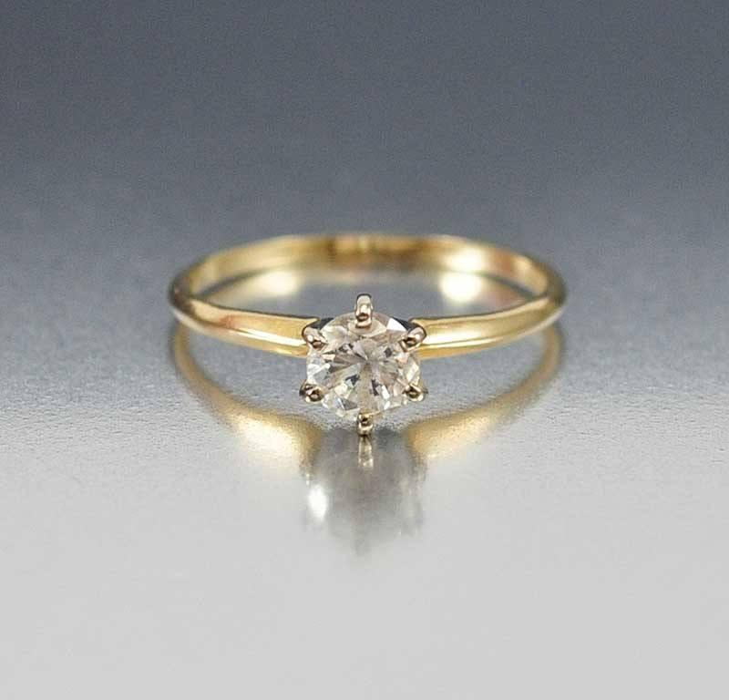14K Solid Gold CZ Solitaire Engagement Ring - Boylerpf