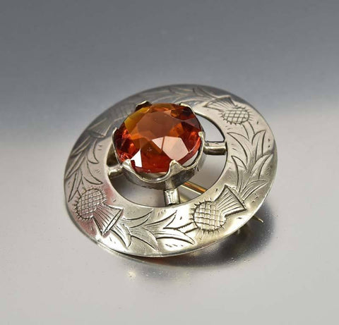 Scottish Silver Thistle Cairngorm Smoky Quartz Brooch