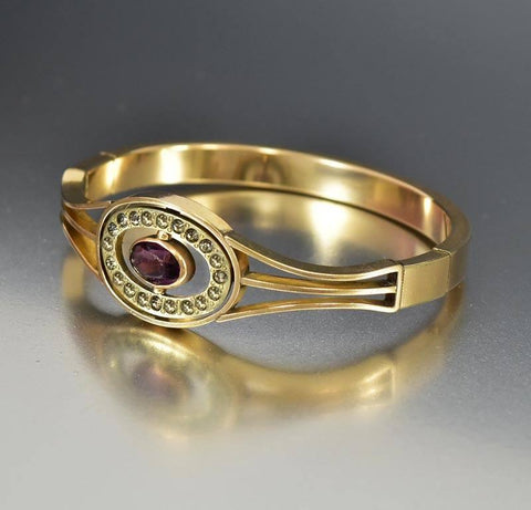 Amethyst Crystal Antique Gold Filled Bangle Bracelet