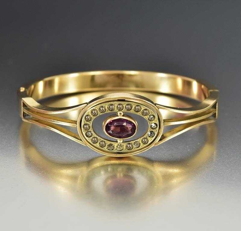 Amethyst Crystal Antique Gold Filled Bangle Bracelet - Boylerpf