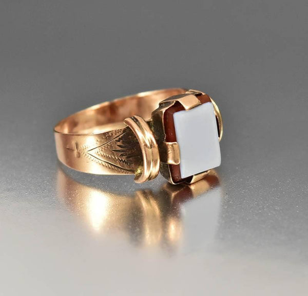 Favorite Antique Victorian Red Sardonyx Rose Gold Ring Signet Style – Boylerpf ZH23