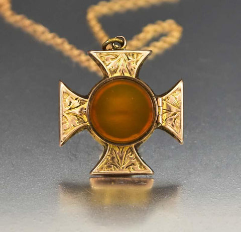 Antique 9K Rose Gold Maltese Cross Locket with Carnelian