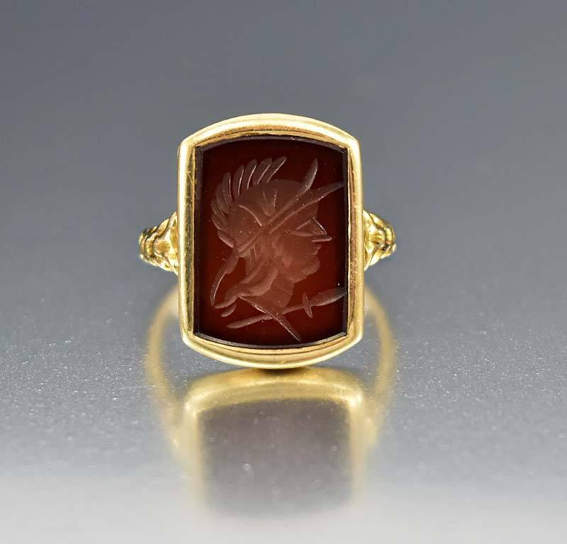 Antique 14K Gold Carnelian Intaglio Ring - Boylerpf