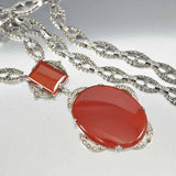 Art Deco Sterling Carnelian Marcasite Necklace - Boylerpf