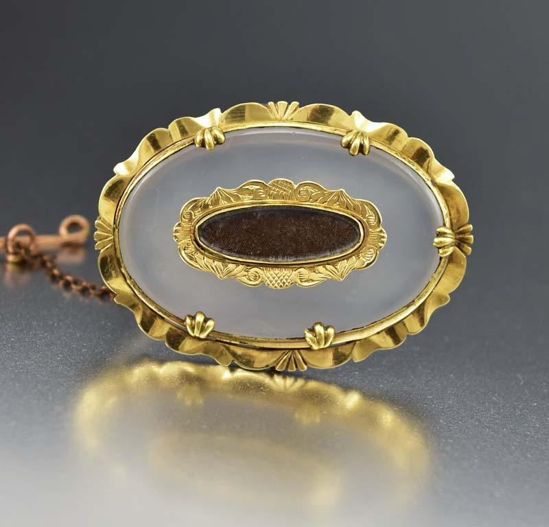 Antique 1860s Victorian Chalcedony Hair Locket Brooch - Boylerpf