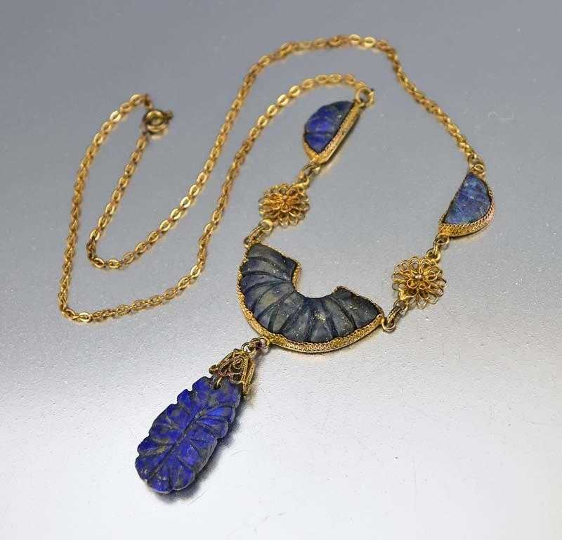 of necklace lapis product round stones blue rows lazuli natural bead clasp big products with image