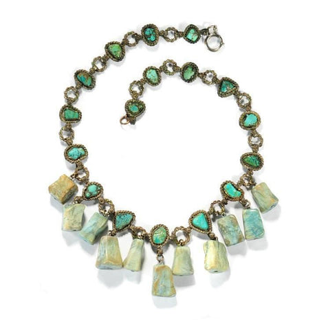 Antique Chinese Turquoise Nugget Bib Necklace